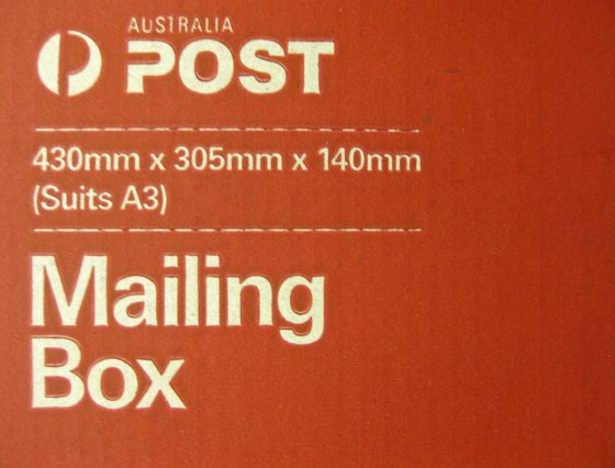 Photo of an Australia Post Mailing Box that suits A3