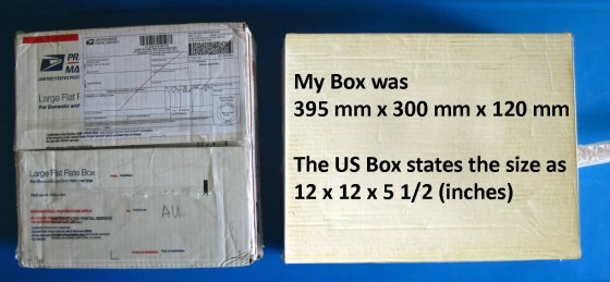 Postage Boxes with sizes for comparison